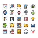 Um bloco de ícones lisos do vetor ilustração stock