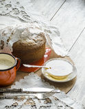 Um bolo feito da farinha do milho. Estilo retro. Foto de Stock Royalty Free