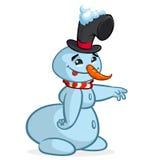 Um boneco de neve dos desenhos animados do vetor que aponta a mão caráter do Natal Foto de Stock Royalty Free