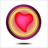 Um botão redondo com um rosa e uma luz do coração ilustração stock