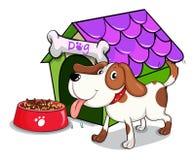Um cão ao lado da bacia com alimentos Imagens de Stock Royalty Free