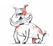 Um cão engraçado pequeno em uma salpicadura Perfeitamente apropriado para ilustrar publicações ilustração do vetor