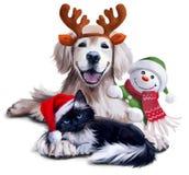 Um cão, um gato e um boneco de neve Imagens de Stock Royalty Free