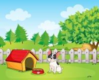 Um cão pequeno dentro da cerca ilustração royalty free