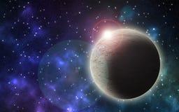Um céu noturno com estrelas e o planeta enorme ilustração royalty free