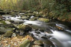 Um córrego de fluxo da montanha no parque nacional da montanha fumarento Imagens de Stock