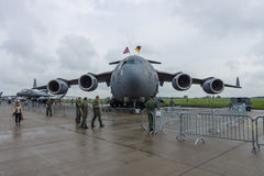 Um C-17 estratégico e tático Globemaster III de Boeing do airlifter Força aérea de E.U. Imagem de Stock