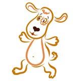 Um cachorrinho de corrida ou de dança alegre com flor deu forma a pontos em torno do olho ilustração stock