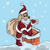 Um cachorrinho pequeno em um terno de Santa escala em uma tubulação ilustração stock