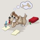 Um cachorrinho pequeno escreve em uma folha de papel ilustração stock