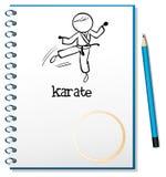 Um caderno com um esboço de um atleta do karaté Imagem de Stock Royalty Free