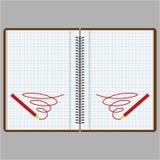 Um caderno ou um diário com páginas em uma caixa ilustração stock