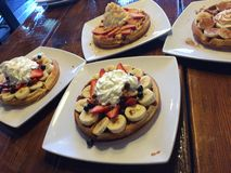 Um café da manhã do waffle Foto de Stock Royalty Free