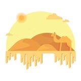 Um camelo está no fundo das dunas Em torno do deserto arenoso quente ilustração do vetor