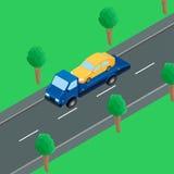 Um caminhão de reboque na estrada ilustração do vetor