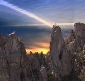 Caminhante de corda na montanha de Ai-Petri Fotografia de Stock