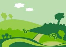 Um campo com plantas e estrada Foto de Stock Royalty Free