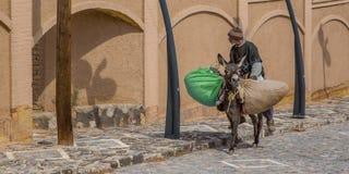 Um camponês em um asno, Irã Fotografia de Stock Royalty Free