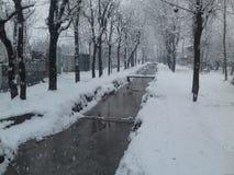 Um canal da água de uma vila durante a queda de neve imagens de stock royalty free