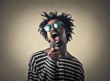 Um cantor foto de stock
