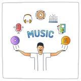 um caráter do homem da música com suas mãos levanta e ícones audio da garatuja Ilustração do Vetor