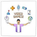 um caráter do homem do totó com suas mãos levanta e ico da garatuja do jogo de vídeo Ilustração do Vetor