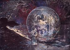 Um caráter fantástico atrativo está na costa de mar em um vestido diáfano Contra o contexto de um espaço da lua da estrela origin ilustração do vetor