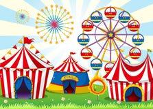 Um carnaval com barracas da listra Imagens de Stock Royalty Free
