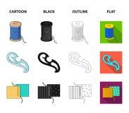 Um carretel com linhas, uma agulha, uma onda, uma emenda na tela Costurando ou costurando ícones da coleção do grupo de ferrament ilustração stock