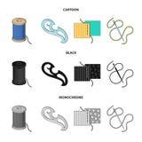 Um carretel com linhas, uma agulha, uma onda, uma emenda na tela Costurando ou costurando ícones da coleção do grupo de ferrament ilustração royalty free
