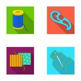 Um carretel com linhas, uma agulha, uma onda, uma emenda na tela Costurando ou costurando ícones da coleção do grupo de ferrament Imagens de Stock