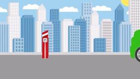 um carro bonde é reabastecido na perspectiva da cidade footage ilustração do vetor