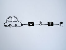 Um carro do desenho e um papel pequeno simulados como um cartão de SIM Dólar, w Imagem de Stock Royalty Free
