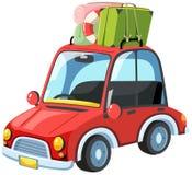 Um carro em uma viagem por estrada ilustração royalty free