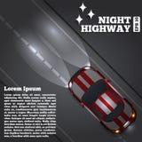 Um carro na estrada da noite Fotografia de Stock