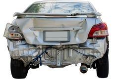 Um carro tem um amortecedor traseiro amolgado Fotografia de Stock