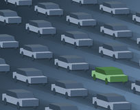 Um carro, verde indo. Foto de Stock
