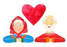 Um cartão com um par de pessoas adultas dos sêniores com um símbolo do coração na parte superior para comemorar o dia ou uma imagem de stock