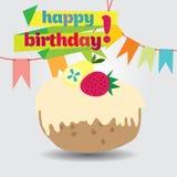 Um cartão de aniversário com um bolo Imagem de Stock Royalty Free
