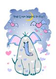 Um cartão do Valentim, seu amor inspira para voar Ilustração com o bonito em corações do elefante & do voo do amor ilustração stock