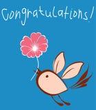 Um cartão do vetor com um pássaro de voo com uma flor ilustração do vetor