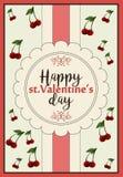 Um cartão horizontal para o dia do ` s do stValentine com dia feliz de cumprimento do ` s do Valentim Imagem de Stock Royalty Free