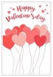 Um cartão para o dia do ` s do Valentim com balões e cumprimento Fotos de Stock Royalty Free