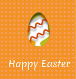 Um cartão para o feriado da Páscoa com a imagem de um ovo e da inscrição de uma Páscoa feliz Ilustração do vetor com efect o Fotografia de Stock