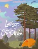 Um cartaz com uma paisagem natural com pinhos e montanhas A rotulação deixou s ir acampar Gr?ficos de vetor ilustração royalty free