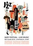 Um cartaz para um festival de jazz com instrumentos musicais Ilustração com saxofone e chaves e guitarra do piano Festiv colorido Fotografia de Stock Royalty Free