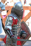 Um cavaleiro medieval durante a batalha Fotografia de Stock