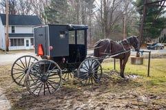 Um cavalo e um carrinho de Amish foto de stock royalty free