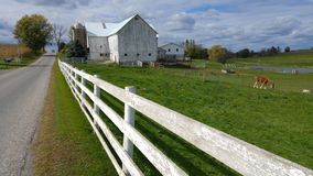 Um celeiro tradicional de Amish e uma cerca de piquete branca no meio de Ohio, EUA foto de stock royalty free