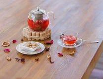 Um chá brilhante da baga em um bule de vidro ao lado de um vidro transparente, de uma placa branca redonda e dos frutos secados e Fotos de Stock